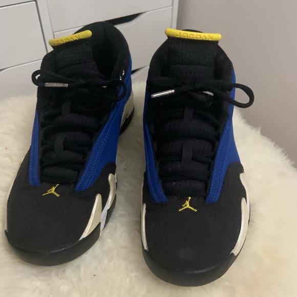 best service 07d5f 32ecf Jordan 14s Blue Yellow Black low laney